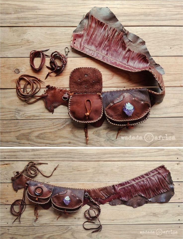 Made to Order // Custom Designed Handmade Upcycled Deerskin Leather Fringe Utility Belt with 2 Pockets, Crystals, D-Loops & Removable Cords by WadadaAfrica on Etsy