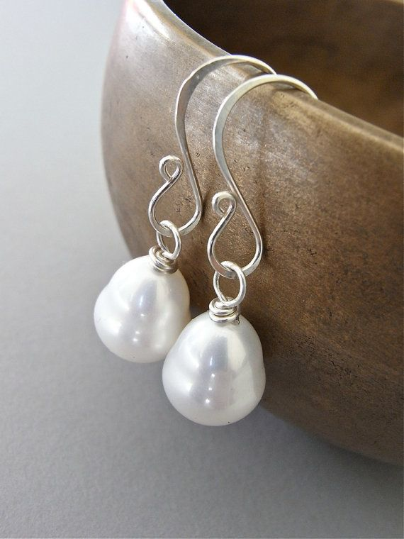 The Rococo earrings - beautiful baroque-shaped easy care south sea shell pearls are finished with my hand forged signature ear wires in sterling. (also available in goldfill).