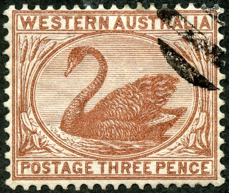 Western Australia  1882 Scott 53 3d red brown, Typographed Wmk 2, Perf 14
