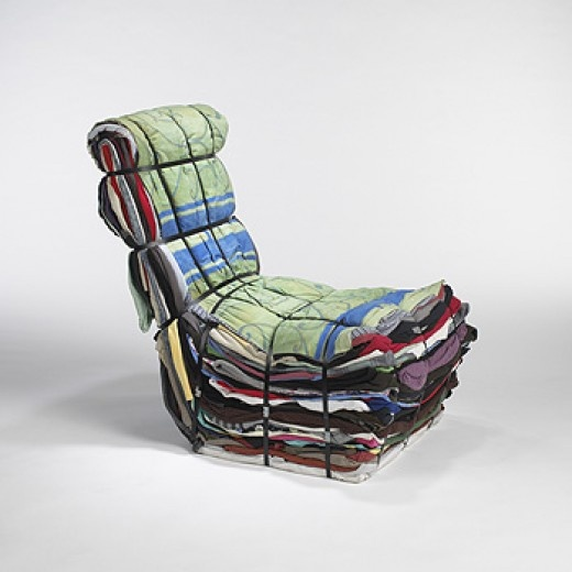 TEJO REMY Rag Chair produced by the artist for Droog Designs The Netherlands, 1991 textile, wood, steel 43 w x 23.5 d x 23.5 h inches