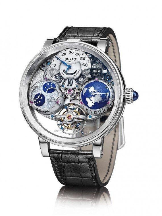 """The #bovetfleurier Recital 18 """"The Shooting Star"""" watch combines a five-day tourbillon, a hemispheric worldwide time function with selectable time zones, a compact 24-cities indicator on rollers, a hemispheric moon-phase display, and timekeeping by means of a jumping hour with retrograde minutes. More @ http://www.watchtime.com/wristwatch-industry-news/watches/mapping-time-space-bovets-recital-18-the-shooting-star/ #watchtime #luxurywatch #watchnerd #SIHH2016"""