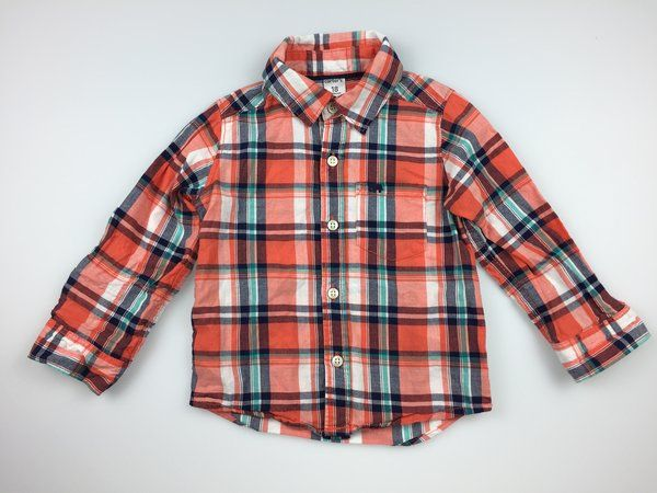 Carter's, long-sleeved checked shirt with embroidered elephant on pocket, excellent pre-loved condition (EUC), boy's size 18 months, $7  #kidsfashion #boysfashion #secondhandclothes #daisychainclothing #shirts