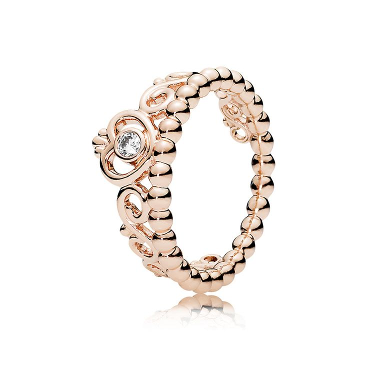Elements Silver Sterling Silver Rose Gold Plated Clear CZ Open Loop Ring 1O7mU
