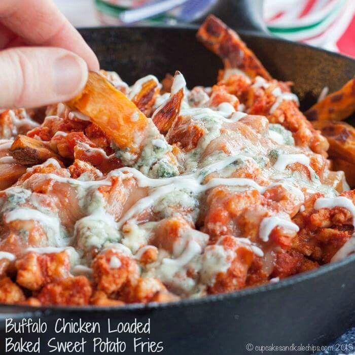 Buffalo Chicken Loaded Baked Sweet Potato Fries. | Appetizers & Game ...