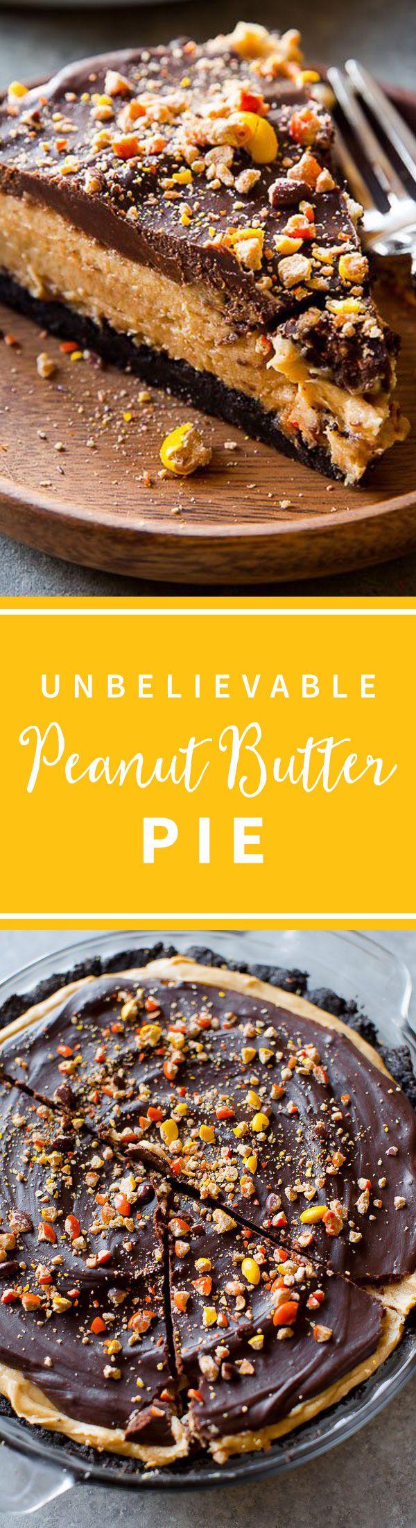 Unbelievable peanut butter pie with Oreo cookie crust and chocolate peanut butter ganache! No bake pie on sallysbakingaddiction.com