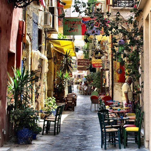 Crete, GreeceDestinations, Favorite Places, Cafes, Chania Street, Beautiful Places, Old Town, Travel, Crete Greece, Popular Pin