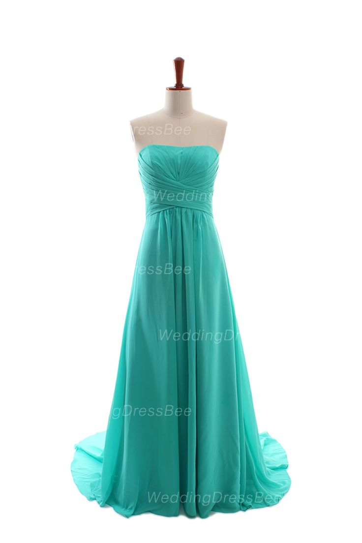 Fancy A-line empire waist chiffon floor length dress