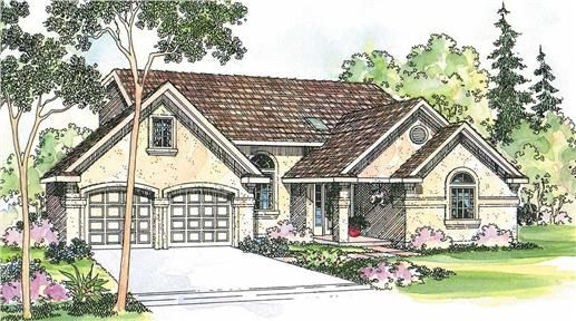 The Siena home plan is a two story, southwestern style house plan with 1750 total living square feet. This southwestern home plan features a loft by the vaulted master suite that overlooks the vaulted family/dining rooms. The kitchen has an eating bar, nearby utility, and is open to the dining room. The master suite has a privacy, a large walk-in closet, and a two-section