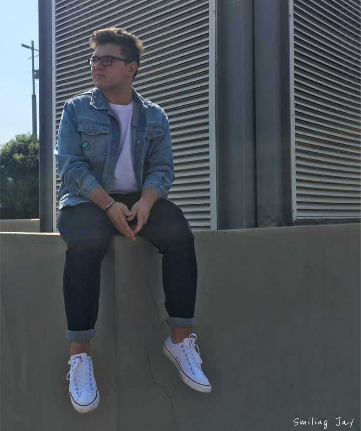 double denim, mens fashion, trend, guy style, blog, all stars, converse, trends, white, jeans, jeacket, badges, patches, pins, h&m, blogger