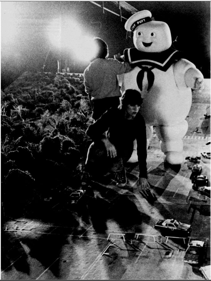 30 Years of Ghostbusters - movie stills. Stay Puff Marshmallow Man. Behind the scenes.  Film