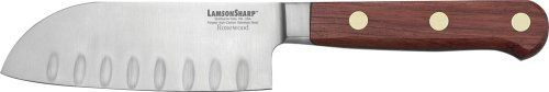 LamsonSharp 5-Inch Forged Kullenschliff Santoku Knife by LamsonSharp. $49.99. Made in the USA. Sharp for Life?Guarantee. Hardened and tempered high-carbon stainless steel. Comes with free knife blade protector KnifeSafe. One-piece forged, full tang blades. The LamsonSharp Rosewood Forged Cutlery Series features a one-piece, forged, full tang blade made of hardened and tempered high-carbon stainless steel from Soligen, Germany.  The Oiled Rosewood hadles are naturally hard and hea...