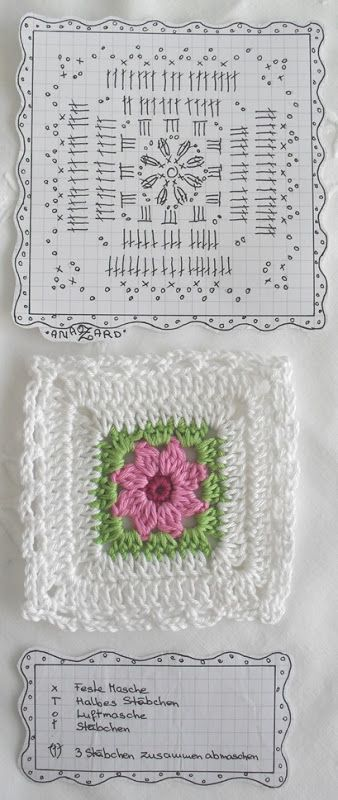 Pretty crochet flower square with diagram