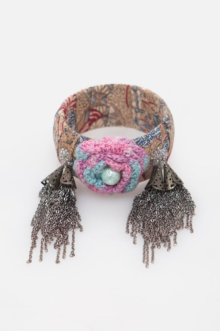 Batik Charm Bangle with Knitted Flower