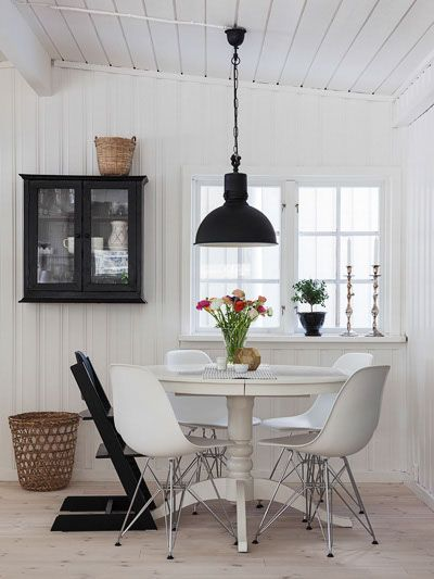 Old but refurbished table. Mixed chairs and pendant light. Everything white washed.