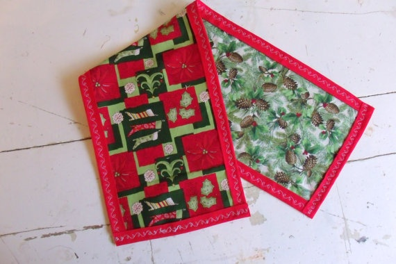 Handmade Reversible Table Runner Christmas by SweetRepeatVintage, $11.00