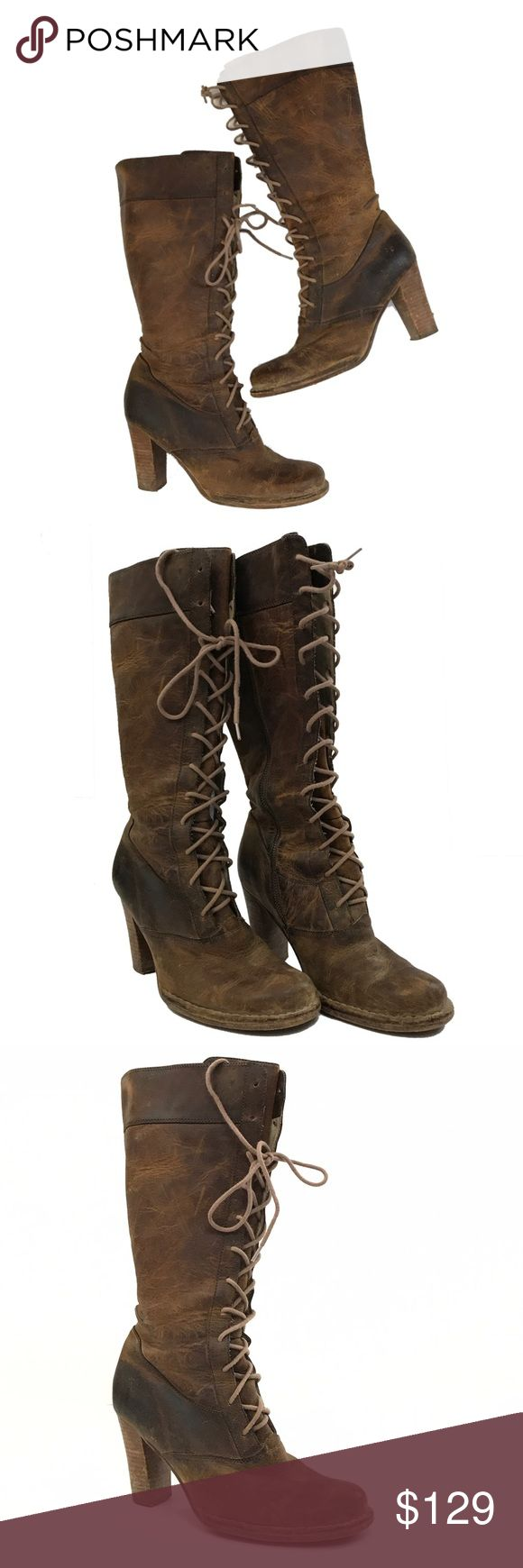 Frye Villager Lace Up Tall Brown Boots Size 8.5 I love these boots! These boots have a cool, vintage vibe. Rugged yet chic.  Knee-high Frye boot features lace-up detail in front with a side. Rounded toe with contrast topstitching.  Stacked rubber heel measures 3.5 inches. Fits true to size. Frye Shoes Lace Up Boots