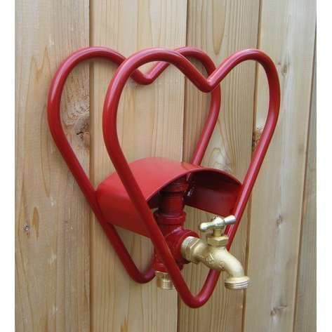 HEART GARDEN HOSE REEL HOLDER WITH FAUCET By TheSportsGarden