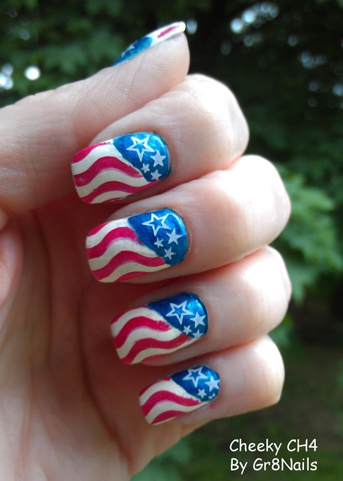 4th of july nail art for short nails