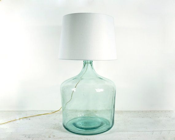 Vintage Carboy Table Lamp: Table Lamps, Carboy Table, Vintage Lights, Vintage Carboy, Tables Lamps, Aqua Colors, Lamps Vintage, Glasses Lamps, Vintage Love