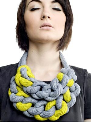 Textile Jewellery Knotted Necklace - Grace Hamilton: innovative accessories, handcrafted using traditional crochet and knotting techniques.