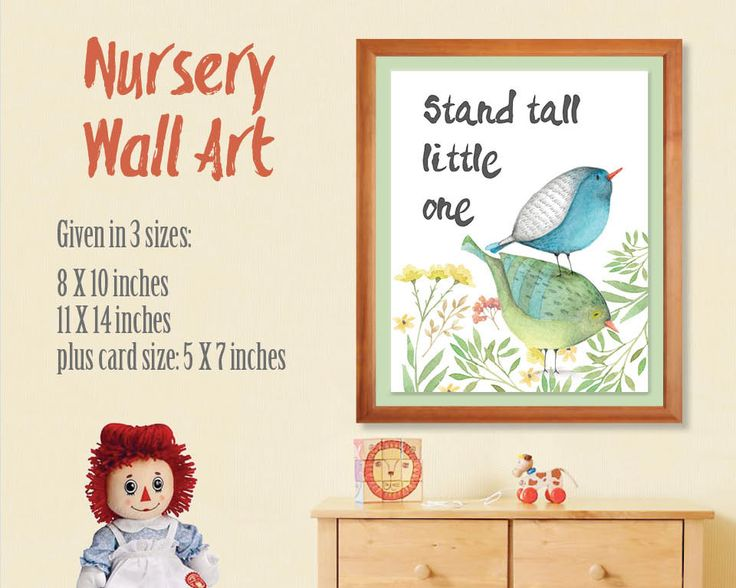 Nursery wall art; hand painted watercolors; little birds and flowers; DIY wall art; printable wall art; instant download by LollysLaneShoppe on Etsy
