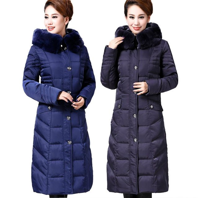 Parka Womens Winter Jacket Women Plus Size Women Coat Rabbit Fur Hooded Duck Down Jackets Women Long Parkas 6889 US $94.42 /piece Specifics Gender	Women Outerwear Type	Down & Parkas Clothing Length	X-Long Brand Name	Branded Filling	White duck down Closure Type	Zipper Fabric Type	Broadcloth Hooded	Yes Down Content	90% Sleeve Length	Full Decoration	Button,Fur,Pockets Pattern Type	Solid Type	Slim Material	Down Thickness	Thickening  Click to Buy :http://goo.gl/t9O329