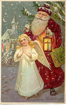 """"""" Santa and The Angel """" Vintage PFB Post Card. Published by Paul Finkenrath of Berlin, and is card # 6, of the Finkenrath series # 6481, has an embossed surface, rich colors, a DB-UNU with writing on the back and in Excellent condition. Karodens Vintage Post Cards at www.bonanza.com/booths/karoden"""