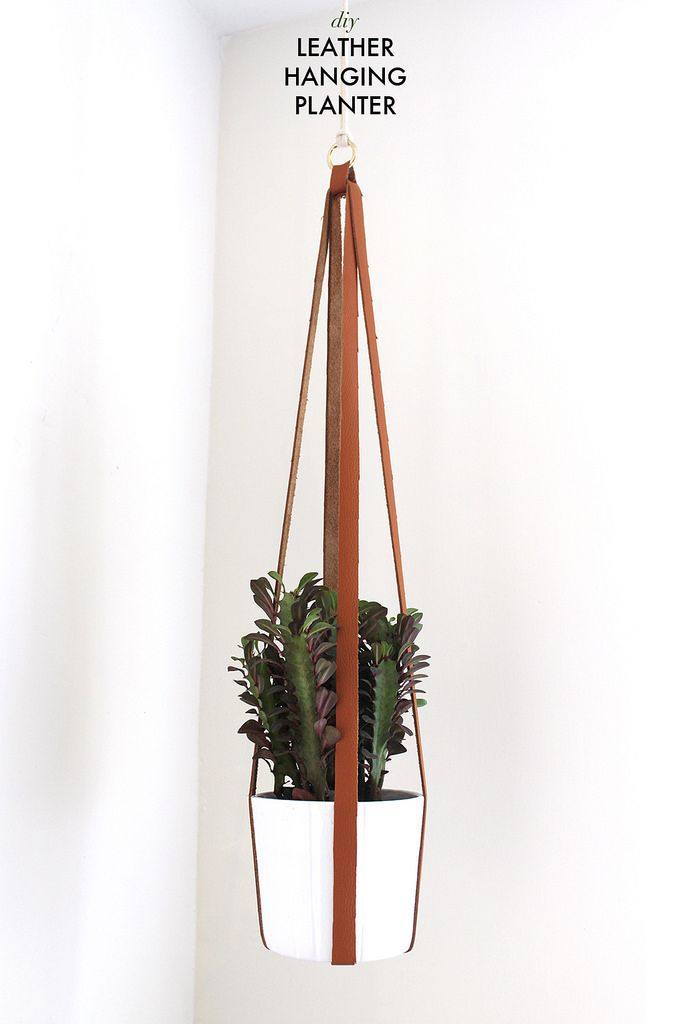 How to make a leather hanging planter www.apairandasparediy.com