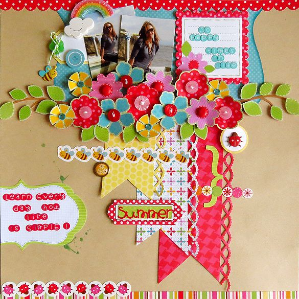 Summer Floral Collage Layout