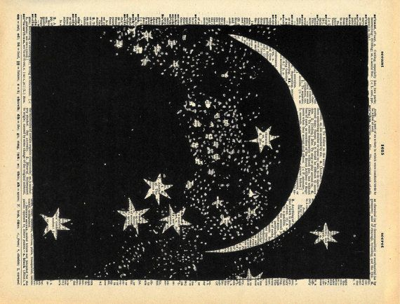 Vintage Dictionary Print The Moon and Stars