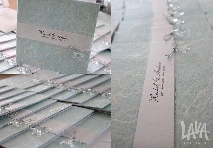 Crystal starfish wedding invitation by www.lavastationery.com.au