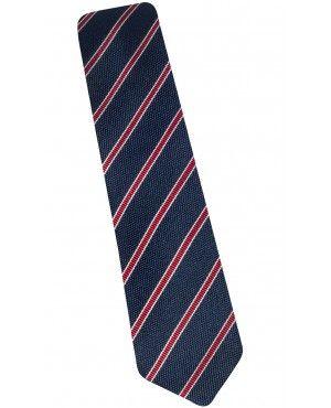 Cravate slim en soie marine à rayures bordeaux