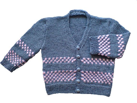 Handmade, hand knit, hand knitted kids cardigan, jacket, sweater of babywool for 1-2 years in grey and pink