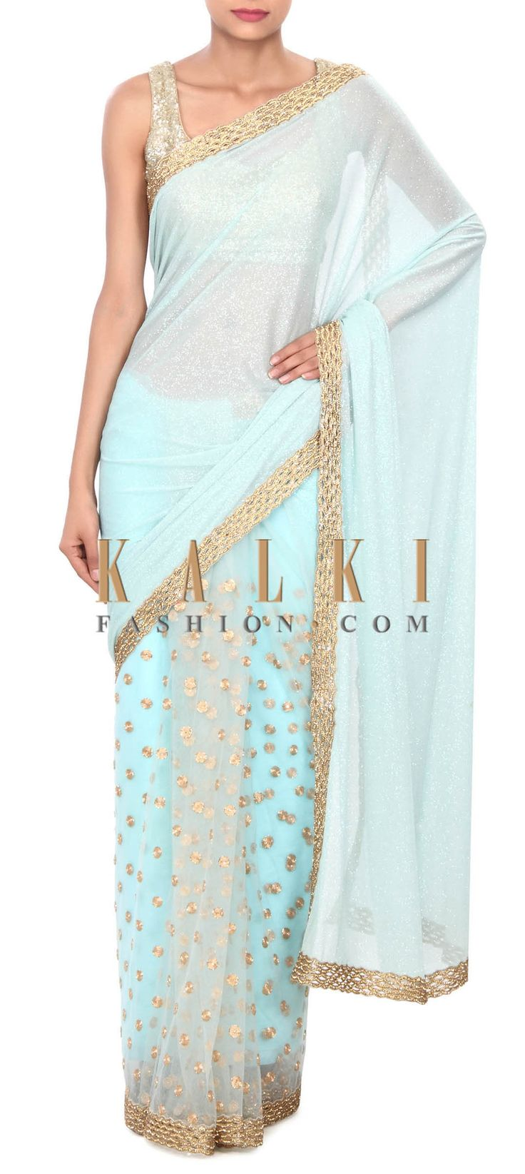 Buy this Sea green saree adorn in zari and cut work border only on Kalki
