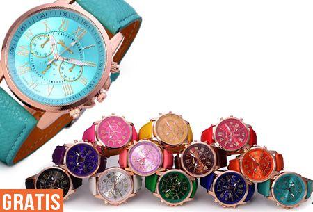 Een mooi horloge voor héél weinig, wie wil dat niet? Maak gebruik van deze aanbieding en bestel het Geneva Color horloge nu GRATIS, je betaalt slechts verzendkosten!