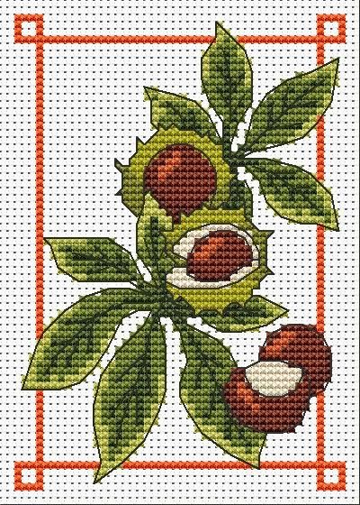 conkers October free cross stitch chart