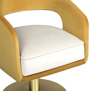 Ellen is a fanciful dining chair full of luxurious features. Its distinctive open curved back is extremely sculptured and it contrasts with the slim legs made of polished brass. It is upholstered in velvet and has mixed tones both on the back and the round cushioned pad.  See more: https://goo.gl/J5rMit