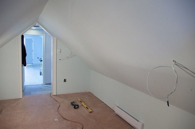 roof pitch means interior walls are like this.