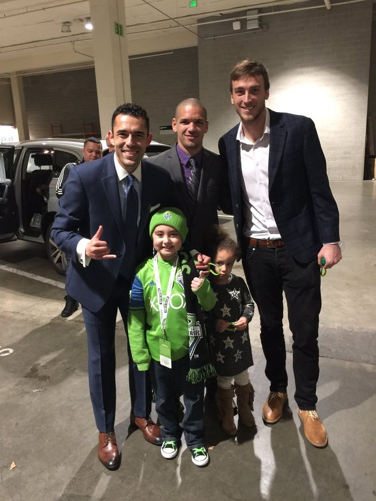 Met Nathan today…he's been to 6 Sounders FC games and we are undefeated in all…thanks for the support! #NathanStrong Herculez Gomez, Tyler Miller and Osvaldo Alonso