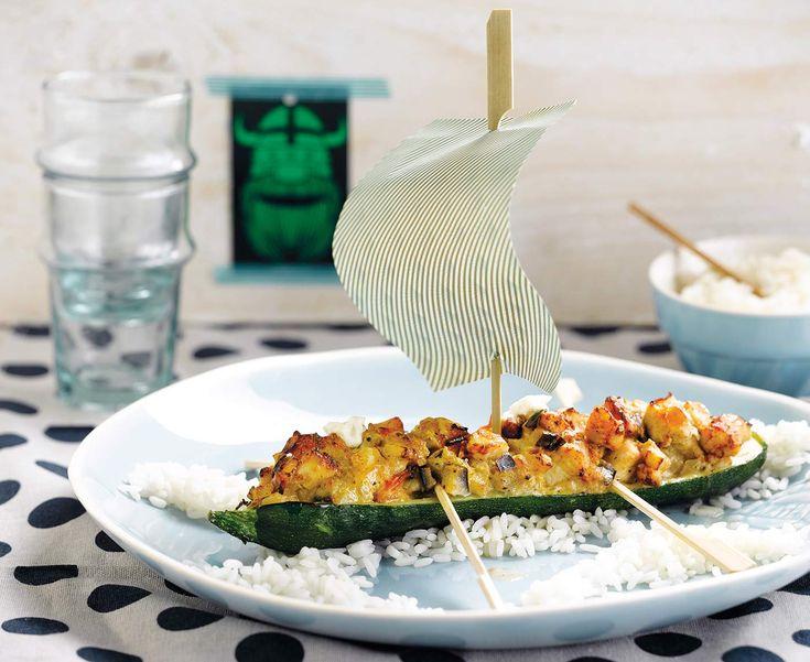 """""""Courgetteboot"""" met rijst en kip"""
