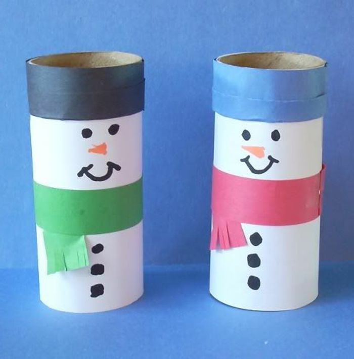 recycler le rouleau de papier toilette, bonhommes de neige en rouleaux de carton