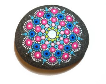 Mandala Painted Beach Stone - Dotillism - Hand Painted Original Geometric Circle Design - Pink & Blue