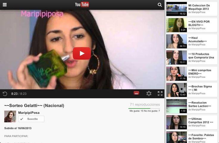 Concurso abierto. Para las amantes de Youtube les presentamos el canal de Maripi Posa, muy recomendado, quien ademas tiene un concurso In Love para ustedes