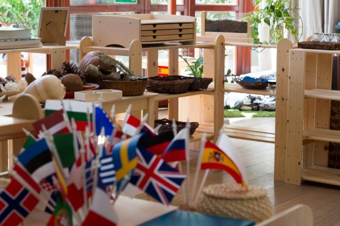 ilovemontesori our classroom, corner with flags
