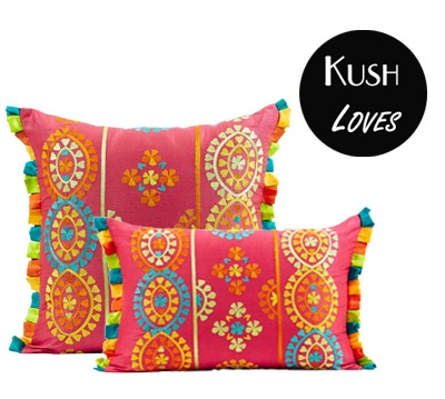 Amy Bindi Cushion by #IDC $39.95 #Pink #Embroidered #multi-colour