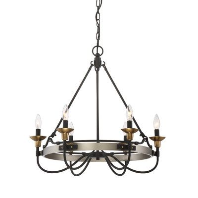 Laurel Foundry Modern Farmhouse Evanston 6 Light Candle-Style Chandelier