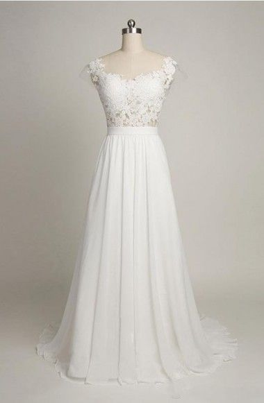 Simple A-line Cap Sleeves Sweetheart Long Chiffon Wedding Dress with Lace