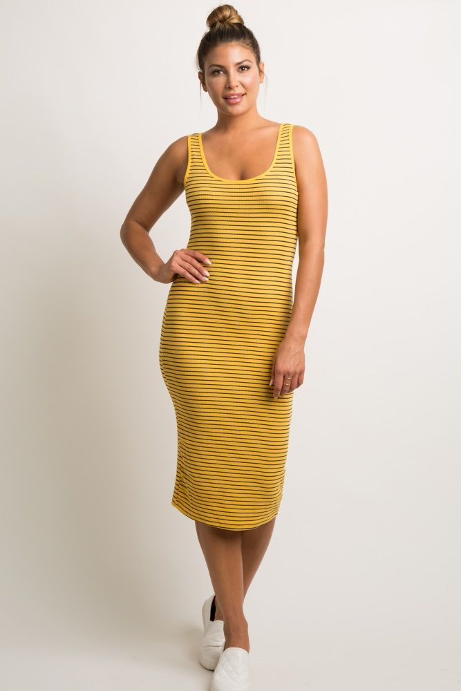 2887dead6b628 Yellow Striped Fitted Ribbed Midi Dress in 2019 | preg wear ...