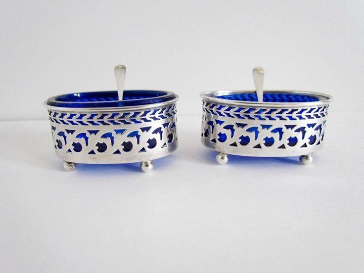 Pair Gorham & Watson Sterling Footed Cobalt Glass Lined Salt Cellars w Spoons