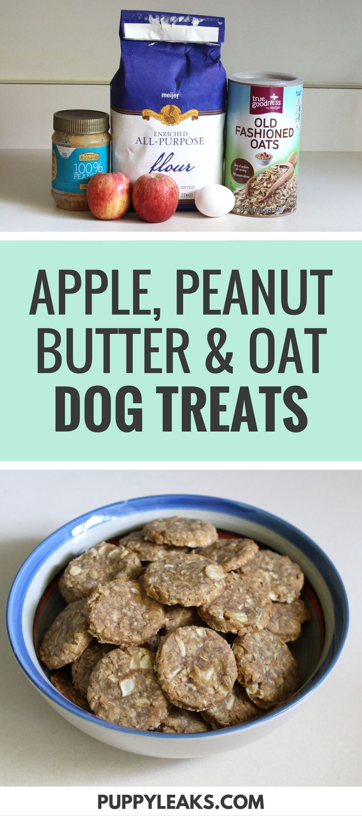 Looking for an easy homemade dog treat to make? Try this apple, peanut butter & oat dog treat recipe. #dogtreats #diydogstuff